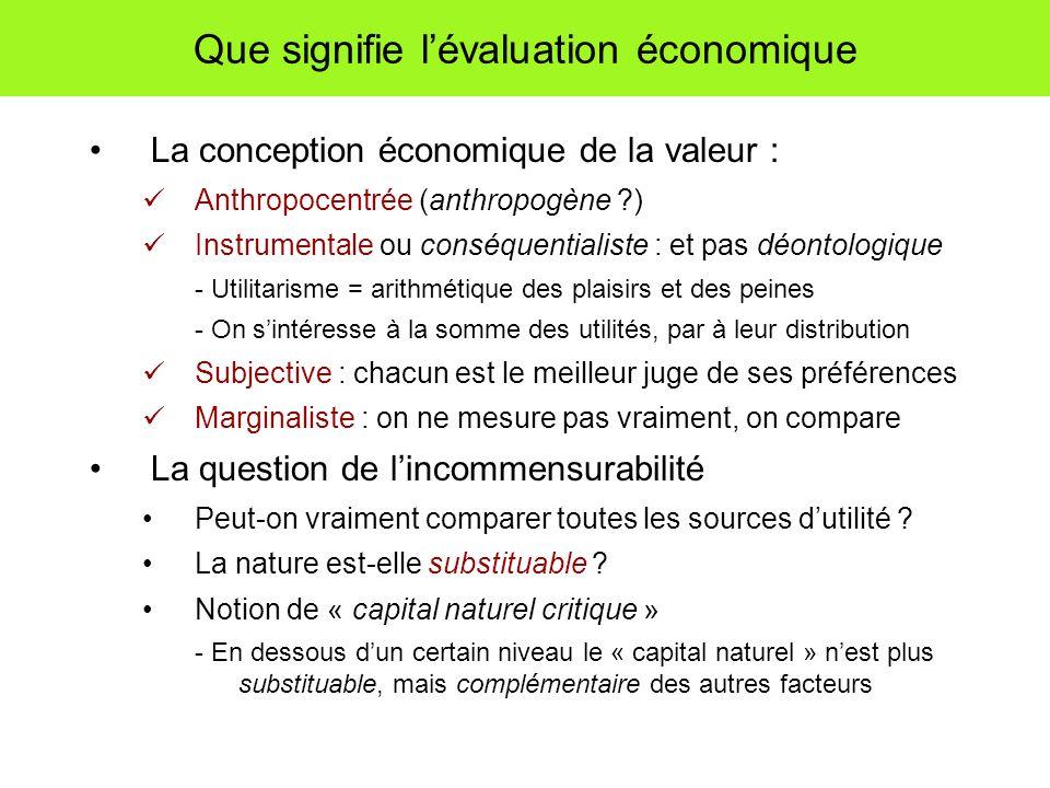 Que signifie lévaluation économique La conception économique de la valeur : Anthropocentrée (anthropogène ?) Instrumentale ou conséquentialiste : et p