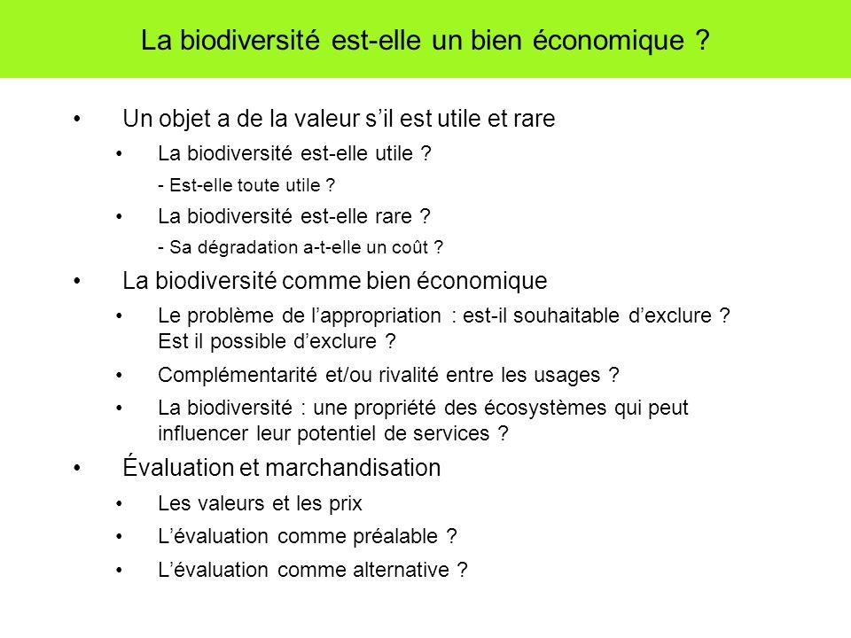 La biodiversité est-elle un bien économique ? Un objet a de la valeur sil est utile et rare La biodiversité est-elle utile ? - Est-elle toute utile ?