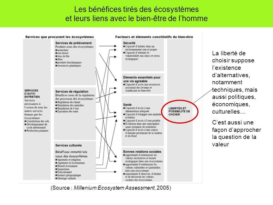 Les bénéfices tirés des écosystèmes et leurs liens avec le bien-être de lhomme (Source : Millenium Ecosystem Assessment, 2005) La liberté de choisir s