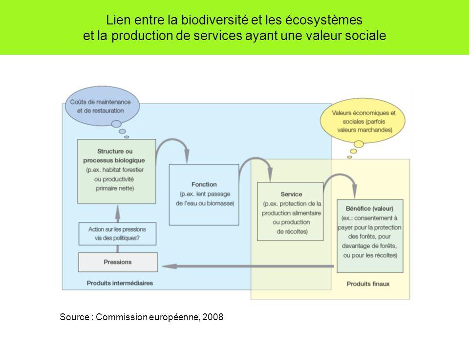 Lien entre la biodiversité et les écosystèmes et la production de services ayant une valeur sociale Source : Commission européenne, 2008