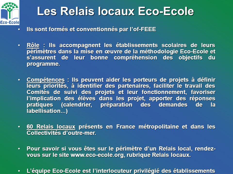 Les Relais locaux Eco-Ecole Ils sont formés et conventionnés par lof-FEEEIls sont formés et conventionnés par lof-FEEE Rôle : Ils accompagnent les établissements scolaires de leurs périmètres dans la mise en œuvre de la méthodologie Eco-Ecole et sassurent de leur bonne compréhension des objectifs du programme.Rôle : Ils accompagnent les établissements scolaires de leurs périmètres dans la mise en œuvre de la méthodologie Eco-Ecole et sassurent de leur bonne compréhension des objectifs du programme.