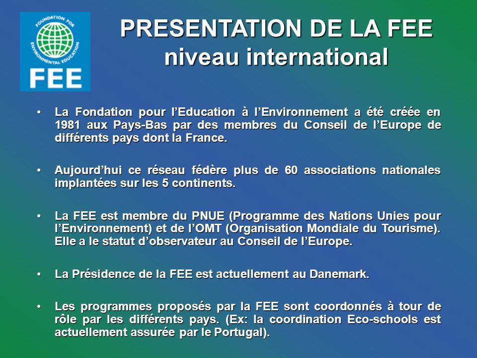 PRESENTATION DE LA FEE niveau international La Fondation pour lEducation à lEnvironnement a été créée en 1981 aux Pays-Bas par des membres du Conseil de lEurope de différents pays dont la France.La Fondation pour lEducation à lEnvironnement a été créée en 1981 aux Pays-Bas par des membres du Conseil de lEurope de différents pays dont la France.