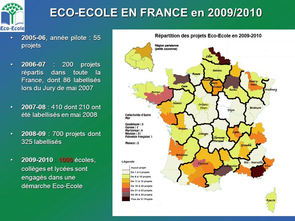 ECO-ECOLE EN FRANCE en 2009/2010 2005-06, année pilote : 55 projets2005-06, année pilote : 55 projets 2006-07 : 200 projets répartis dans toute la France, dont 86 labellisés lors du Jury de mai 20072006-07 : 200 projets répartis dans toute la France, dont 86 labellisés lors du Jury de mai 2007 2007-08 : 410 dont 210 ont été labellisés en mai 20082007-08 : 410 dont 210 ont été labellisés en mai 2008 2008-09 : 700 projets dont 325 labellisés2008-09 : 700 projets dont 325 labellisés 2009-2010 : 1000 écoles,2009-2010 : 1000 écoles, collèges et lycées sont engagés dans une démarche Eco-Ecole