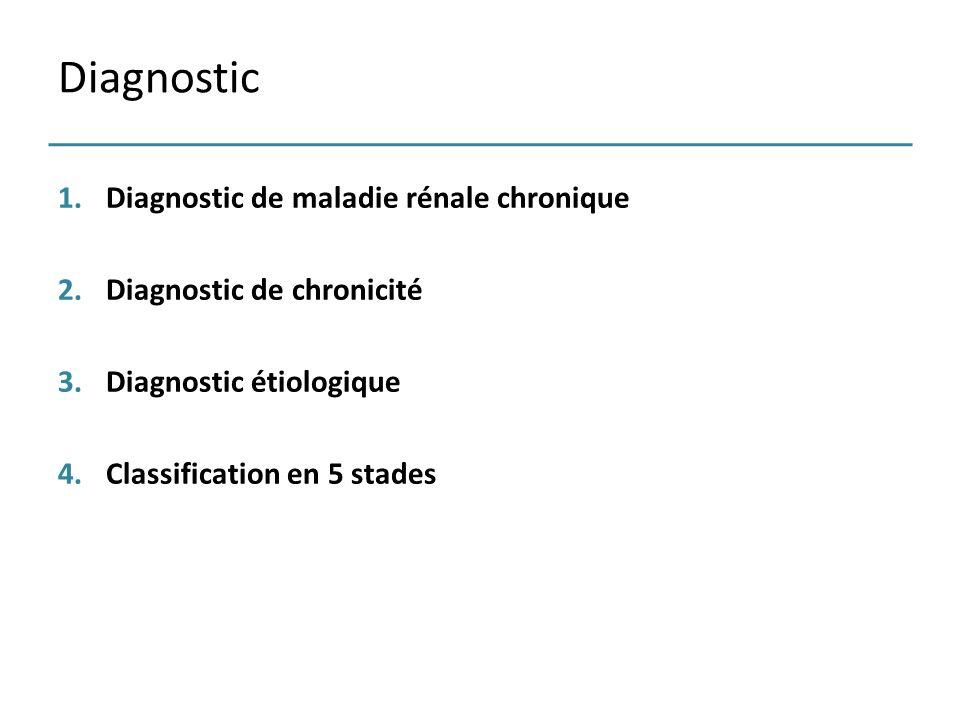 1.Diagnostic de maladie rénale chronique 2.Diagnostic de chronicité 3.Diagnostic étiologique 4.Classification en 5 stades