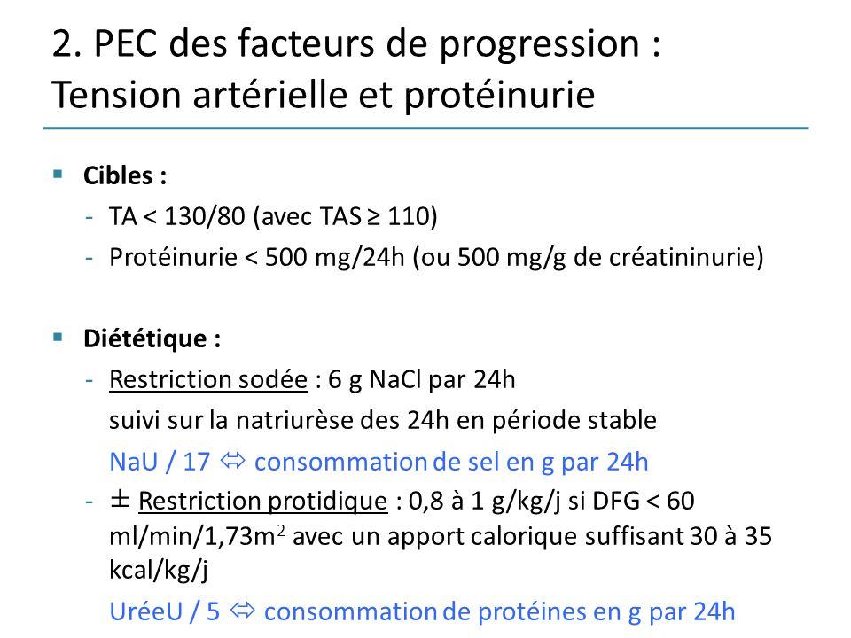 2. PEC des facteurs de progression : Tension artérielle et protéinurie Cibles : -TA < 130/80 (avec TAS 110) -Protéinurie < 500 mg/24h (ou 500 mg/g de