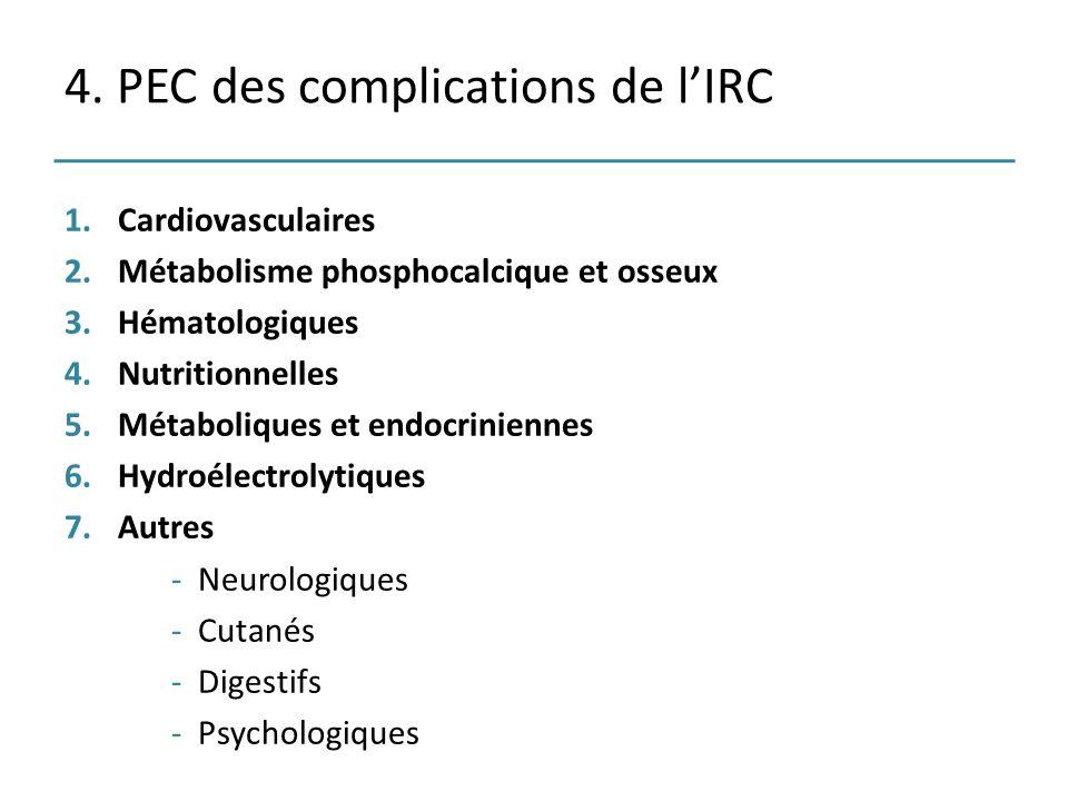 4. PEC des complications de lIRC 1.Cardiovasculaires 2.Métabolisme phosphocalcique et osseux 3.Hématologiques 4.Nutritionnelles 5.Métaboliques et endo