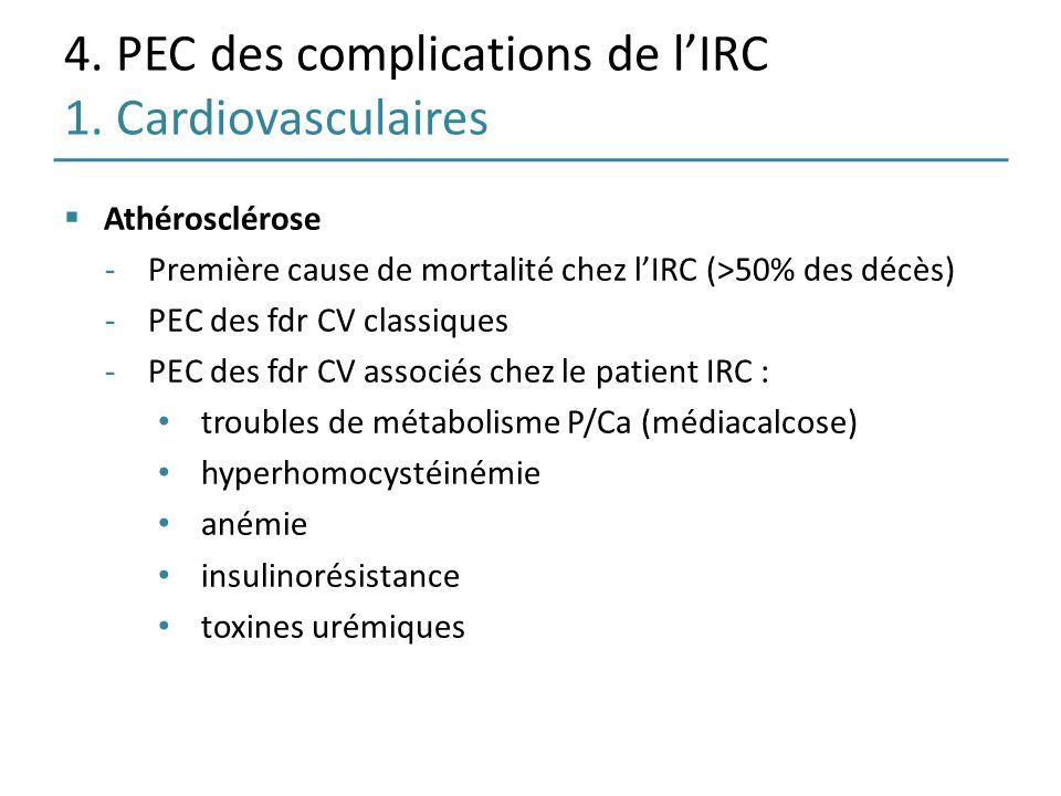 4. PEC des complications de lIRC 1. Cardiovasculaires Athérosclérose -Première cause de mortalité chez lIRC (>50% des décès) -PEC des fdr CV classique