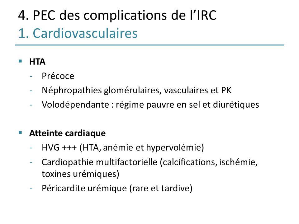 4. PEC des complications de lIRC 1. Cardiovasculaires HTA -Précoce -Néphropathies glomérulaires, vasculaires et PK -Volodépendante : régime pauvre en