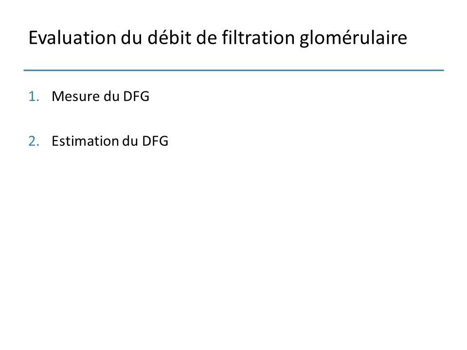 Evaluation du débit de filtration glomérulaire 1.Mesure du DFG 2.Estimation du DFG