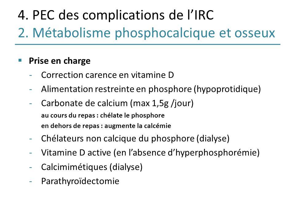 4. PEC des complications de lIRC 2. Métabolisme phosphocalcique et osseux Prise en charge -Correction carence en vitamine D -Alimentation restreinte e