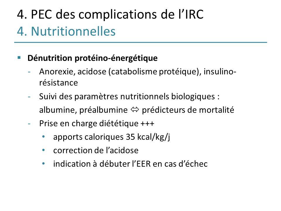 4. PEC des complications de lIRC 4. Nutritionnelles Dénutrition protéino-énergétique -Anorexie, acidose (catabolisme protéique), insulino- résistance