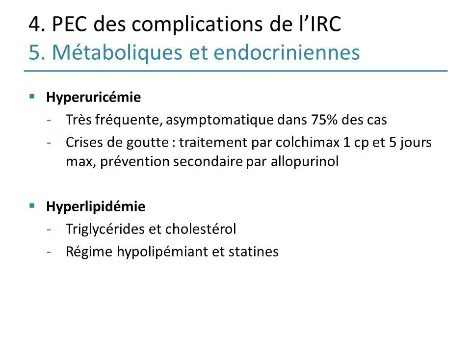 4. PEC des complications de lIRC 5. Métaboliques et endocriniennes Hyperuricémie -Très fréquente, asymptomatique dans 75% des cas -Crises de goutte :
