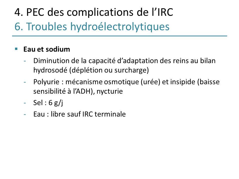 4. PEC des complications de lIRC 6. Troubles hydroélectrolytiques Eau et sodium -Diminution de la capacité dadaptation des reins au bilan hydrosodé (d