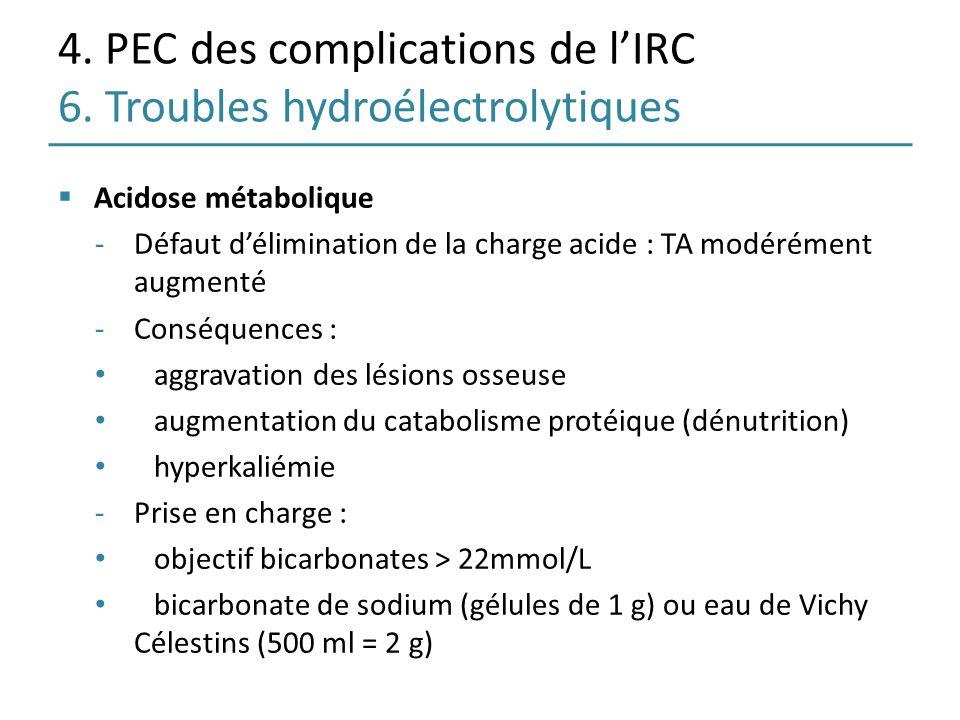 4. PEC des complications de lIRC 6. Troubles hydroélectrolytiques Acidose métabolique -Défaut délimination de la charge acide : TA modérément augmenté