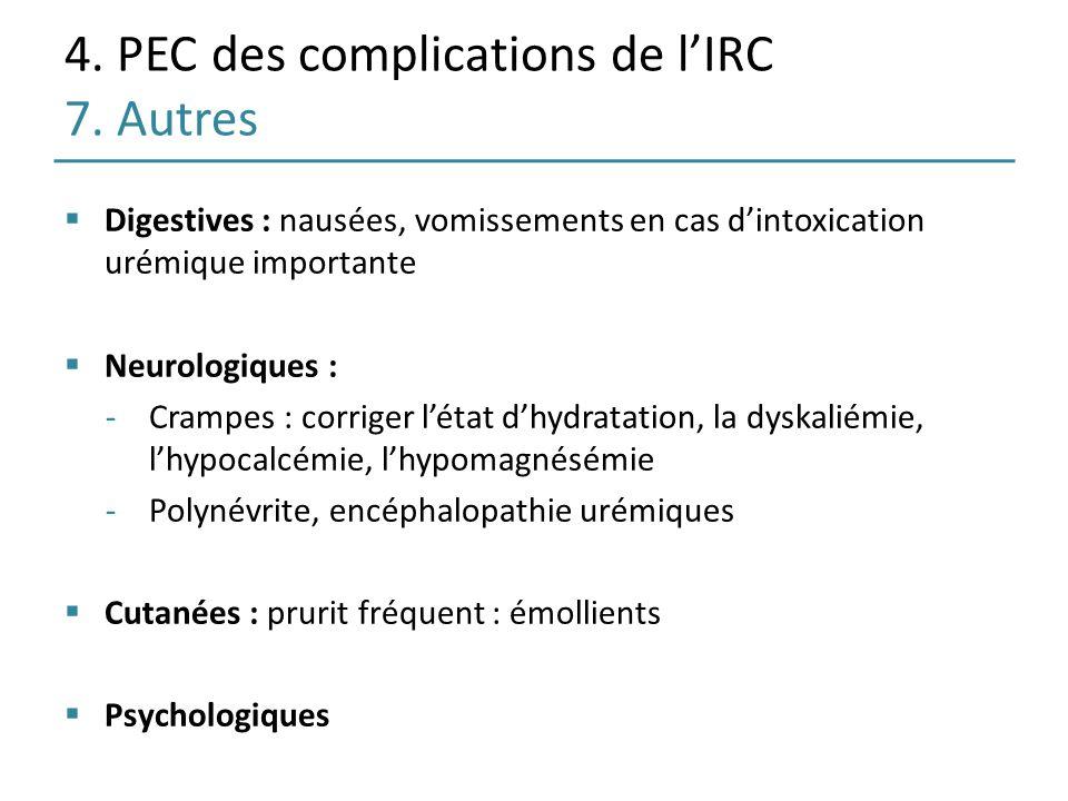 4. PEC des complications de lIRC 7. Autres Digestives : nausées, vomissements en cas dintoxication urémique importante Neurologiques : -Crampes : corr