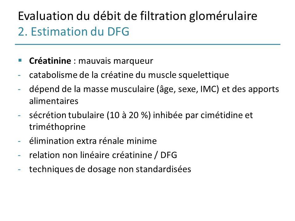 Evaluation du débit de filtration glomérulaire 2. Estimation du DFG Créatinine : mauvais marqueur -catabolisme de la créatine du muscle squelettique -