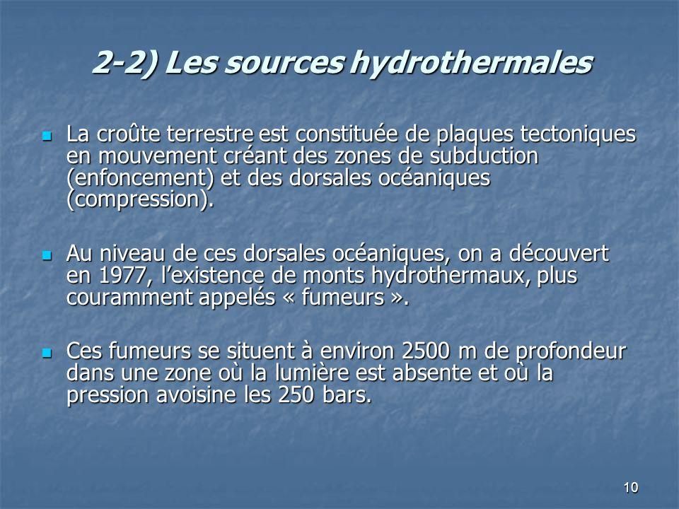 10 2-2) Les sources hydrothermales La croûte terrestre est constituée de plaques tectoniques en mouvement créant des zones de subduction (enfoncement) et des dorsales océaniques (compression).