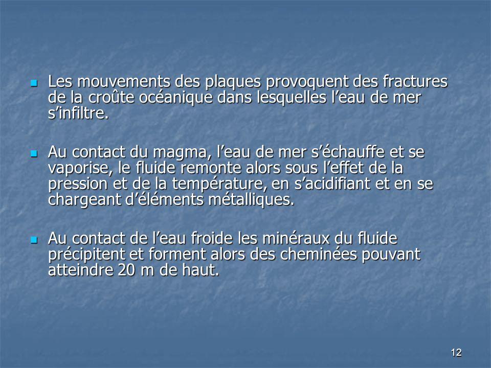 12 Les mouvements des plaques provoquent des fractures de la croûte océanique dans lesquelles leau de mer sinfiltre. Les mouvements des plaques provoq