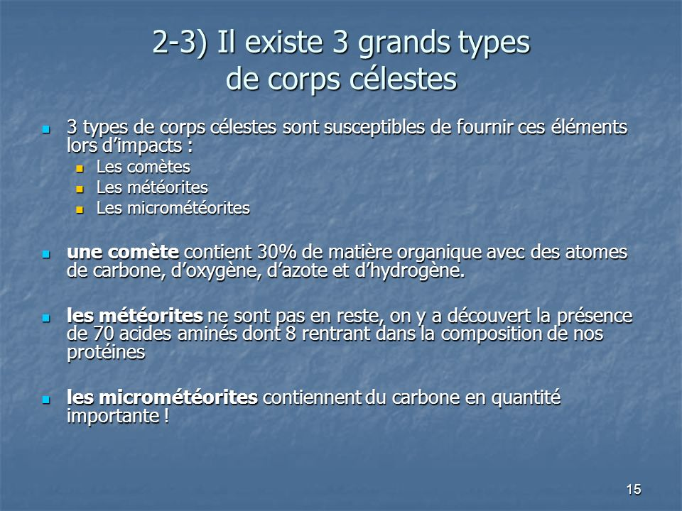 15 2-3) Il existe 3 grands types de corps célestes 3 types de corps célestes sont susceptibles de fournir ces éléments lors dimpacts : 3 types de corps célestes sont susceptibles de fournir ces éléments lors dimpacts : Les comètes Les comètes Les météorites Les météorites Les micrométéorites Les micrométéorites une comète contient 30% de matière organique avec des atomes de carbone, doxygène, dazote et dhydrogène.