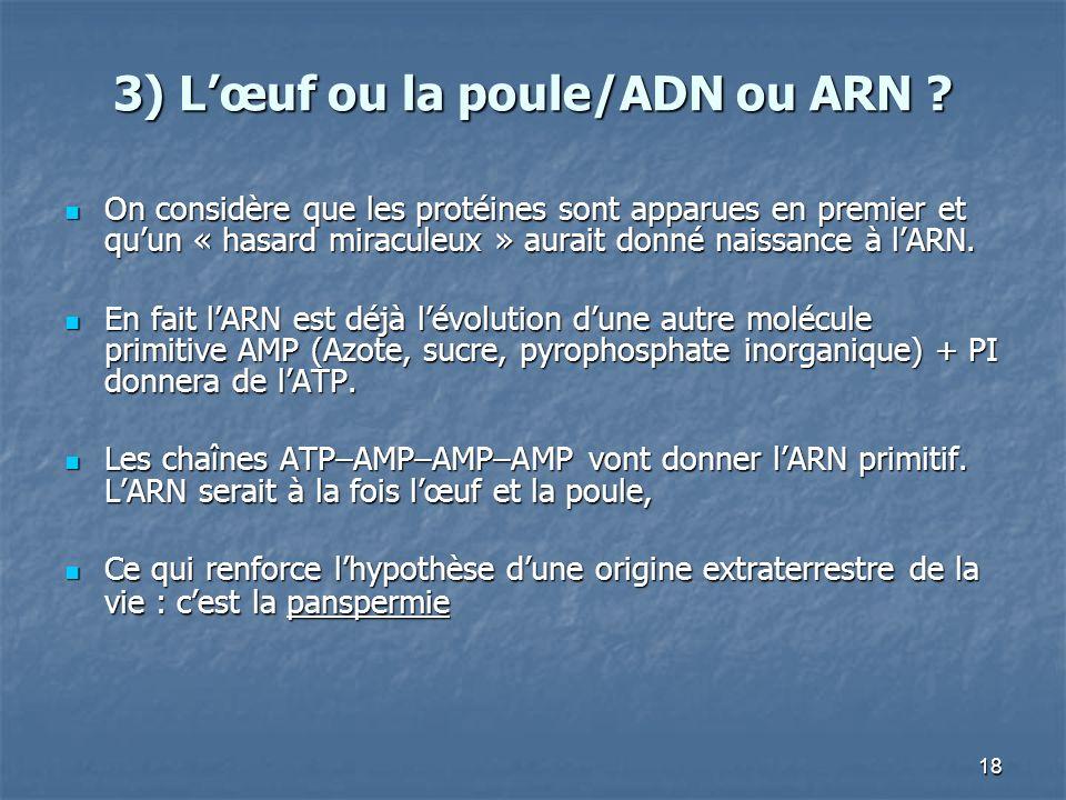 18 3) Lœuf ou la poule/ADN ou ARN .