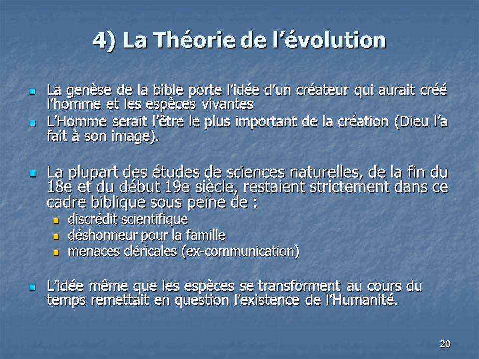20 4) La Théorie de lévolution La genèse de la bible porte lidée dun créateur qui aurait créé lhomme et les espèces vivantes La genèse de la bible por