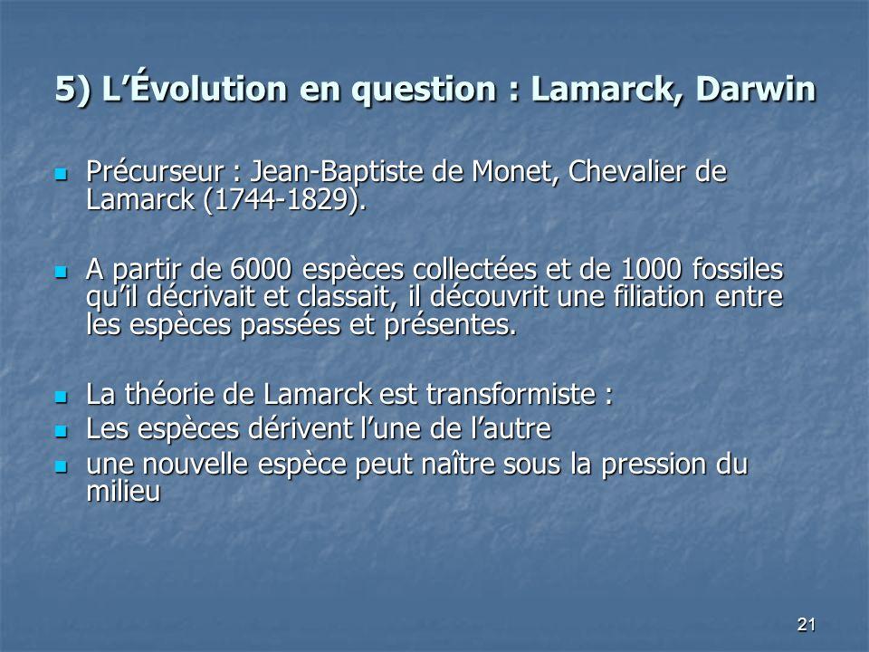 21 5) LÉvolution en question : Lamarck, Darwin Précurseur : Jean-Baptiste de Monet, Chevalier de Lamarck (1744-1829).
