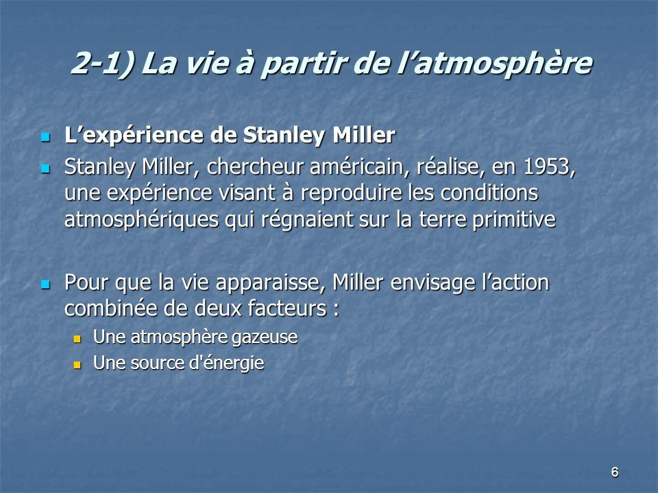 6 2-1) La vie à partir de latmosphère Lexpérience de Stanley Miller Lexpérience de Stanley Miller Stanley Miller, chercheur américain, réalise, en 1953, une expérience visant à reproduire les conditions atmosphériques qui régnaient sur la terre primitive Stanley Miller, chercheur américain, réalise, en 1953, une expérience visant à reproduire les conditions atmosphériques qui régnaient sur la terre primitive Pour que la vie apparaisse, Miller envisage laction combinée de deux facteurs : Pour que la vie apparaisse, Miller envisage laction combinée de deux facteurs : Une atmosphère gazeuse Une atmosphère gazeuse Une source d énergie Une source d énergie