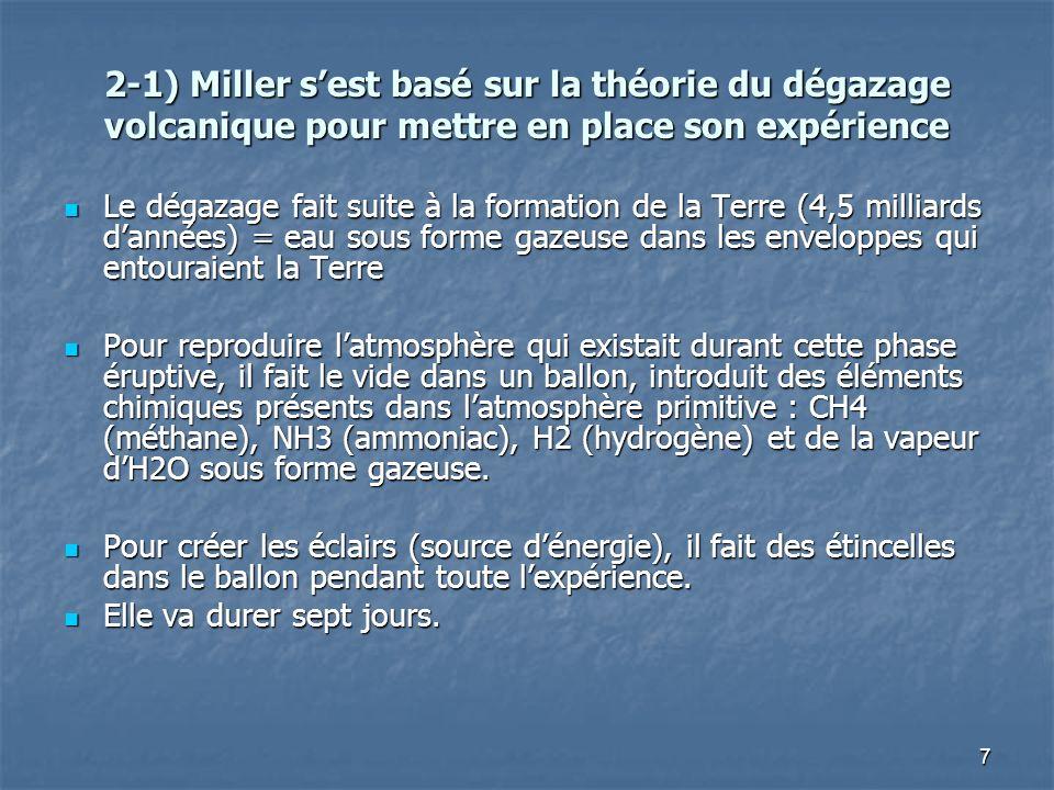 7 2-1) Miller sest basé sur la théorie du dégazage volcanique pour mettre en place son expérience Le dégazage fait suite à la formation de la Terre (4