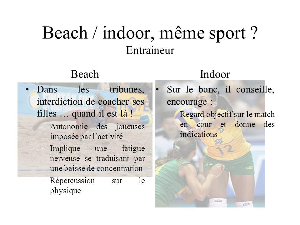 Beach / indoor, même sport ? Entraineur Beach Dans les tribunes, interdiction de coacher ses filles … quand il est là ! –Autonomie des joueuses imposé
