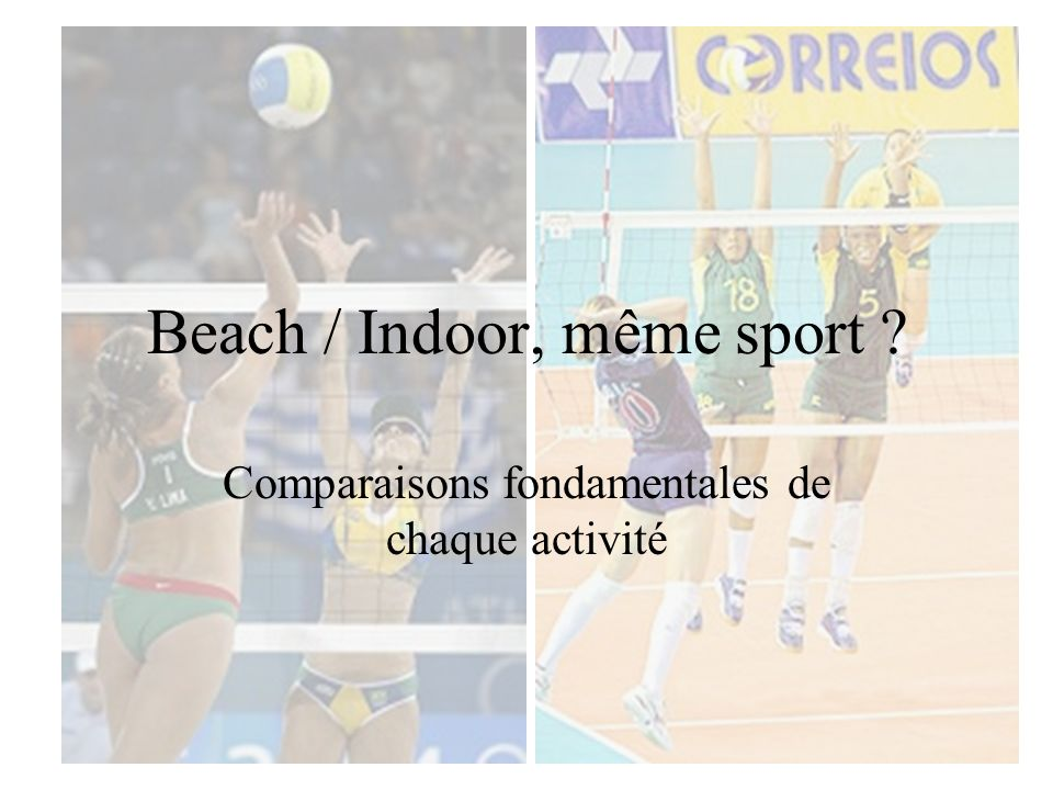 Beach / indoor, même sport.
