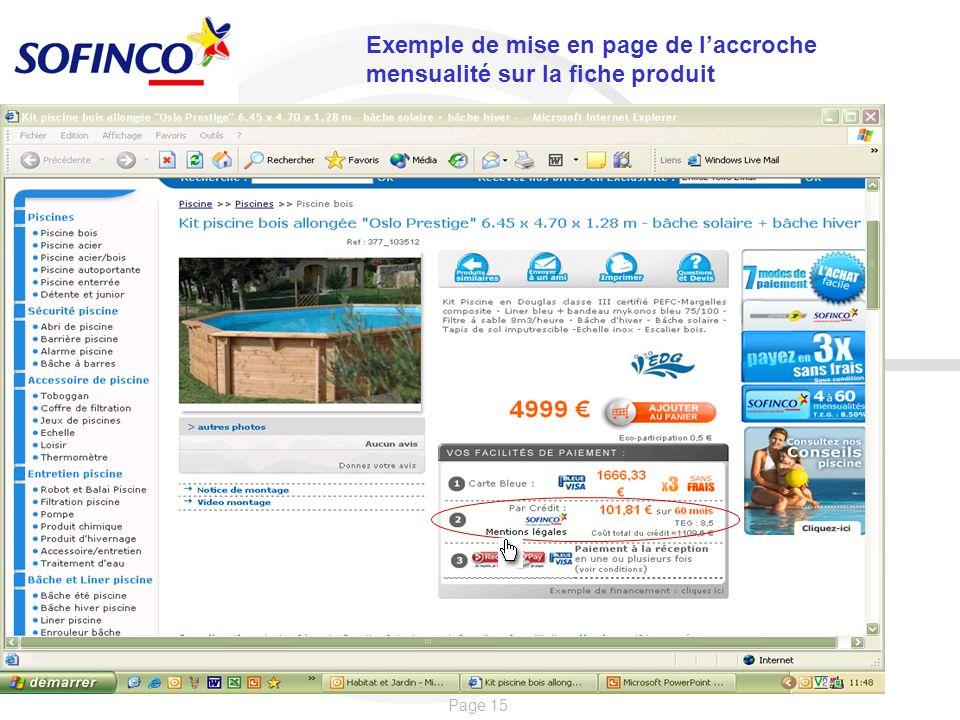 Page 15 Exemple de mise en page de laccroche mensualité sur la fiche produit