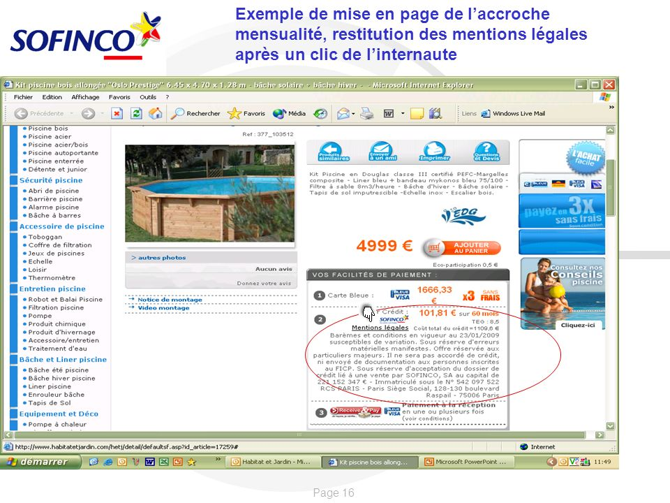 Page 16 Exemple de mise en page de laccroche mensualité, restitution des mentions légales après un clic de linternaute