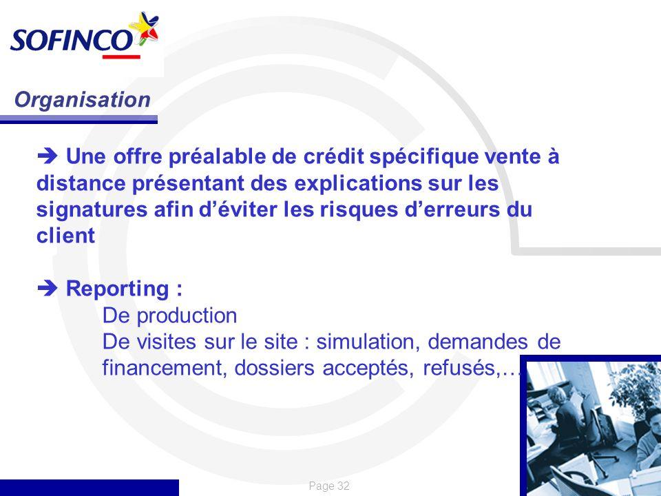 Page 32 Organisation Une offre préalable de crédit spécifique vente à distance présentant des explications sur les signatures afin déviter les risques