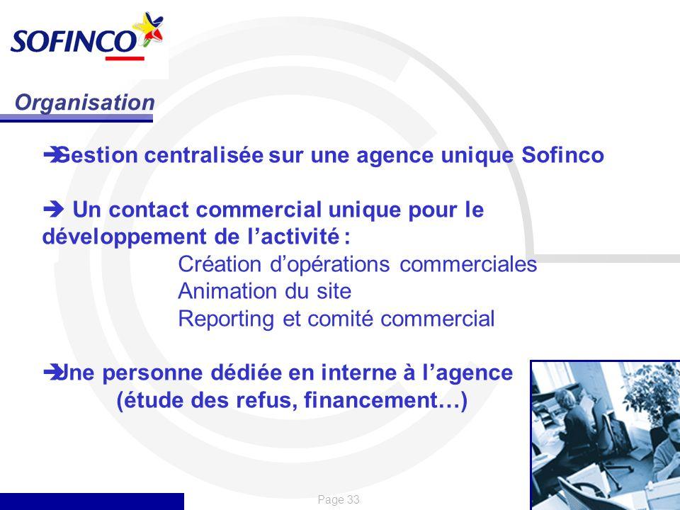 Page 33 Organisation Gestion centralisée sur une agence unique Sofinco Un contact commercial unique pour le développement de lactivité : Création dopé