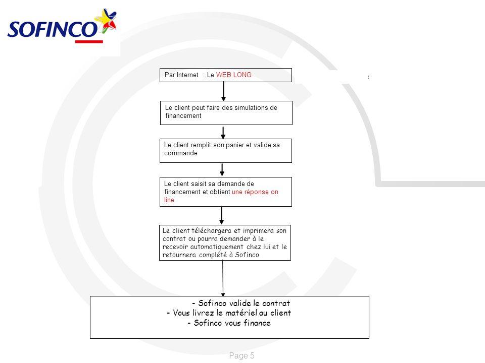 Page 5 - Sofinco valide le contrat - Vous livrez le matériel au client - Sofinco vous finance Par Internet : Le WEB LONG : Le client peut faire des si