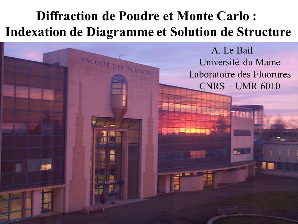 Diffraction de Poudre et Monte Carlo : Indexation de Diagramme et Solution de Structure A. Le Bail Université du Maine Laboratoire des Fluorures CNRS
