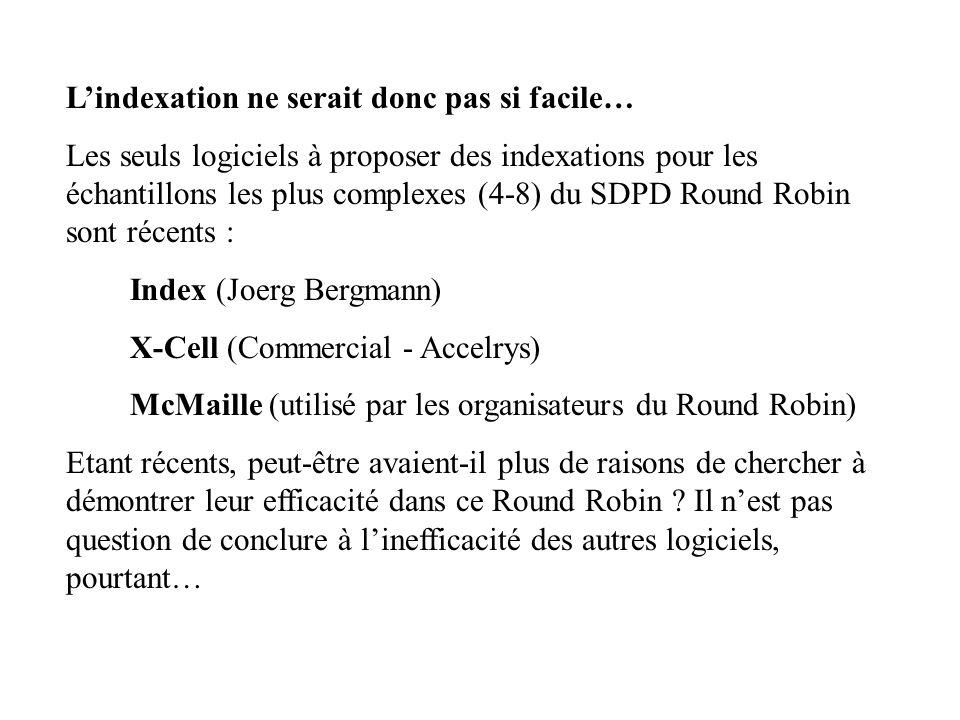 Lindexation ne serait donc pas si facile… Les seuls logiciels à proposer des indexations pour les échantillons les plus complexes (4-8) du SDPD Round