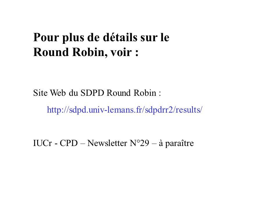 Pour plus de détails sur le Round Robin, voir : Site Web du SDPD Round Robin : http://sdpd.univ-lemans.fr/sdpdrr2/results/ IUCr - CPD – Newsletter N°2