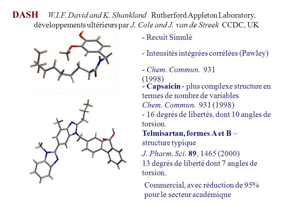 - Recuit Simulé - Intensités intégrées corrélées (Pawley) - Chem. Commun. 931 (1998) - Capsaicin - plus complexe structure en termes de nombre de vari