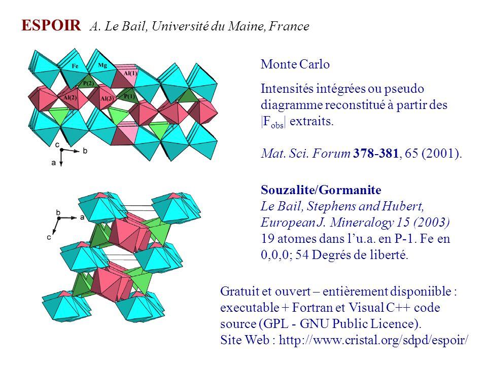 ESPOIR A. Le Bail, Université du Maine, France Monte Carlo Intensités intégrées ou pseudo diagramme reconstitué à partir des |F obs | extraits. Mat. S