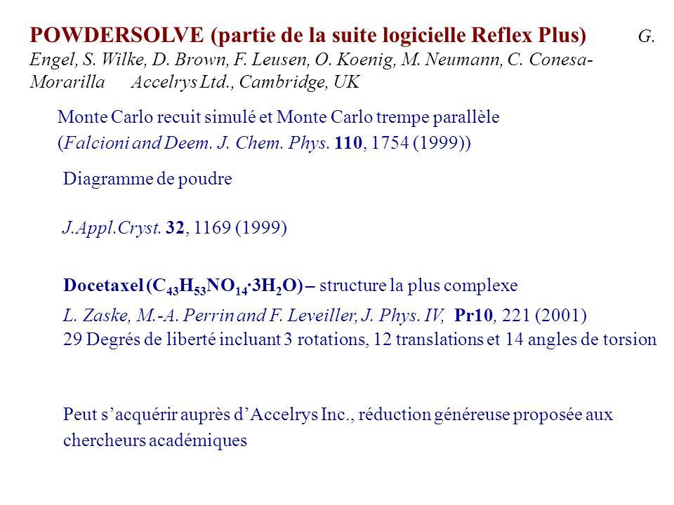 POWDERSOLVE (partie de la suite logicielle Reflex Plus) G. Engel, S. Wilke, D. Brown, F. Leusen, O. Koenig, M. Neumann, C. Conesa- Morarilla Accelrys