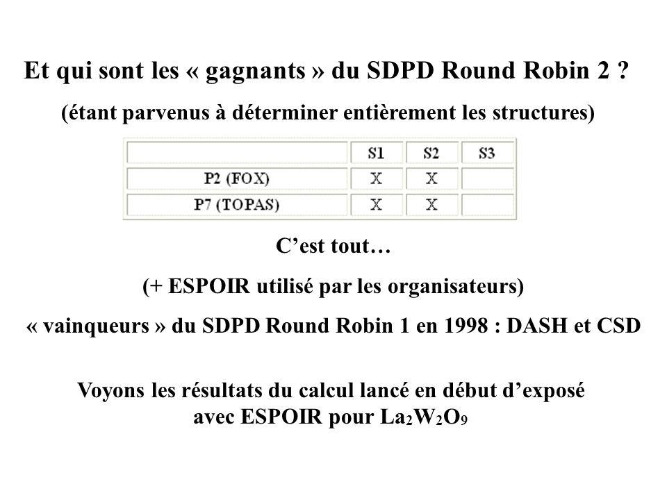 Voyons les résultats du calcul lancé en début dexposé avec ESPOIR pour La 2 W 2 O 9 Et qui sont les « gagnants » du SDPD Round Robin 2 ? (étant parven