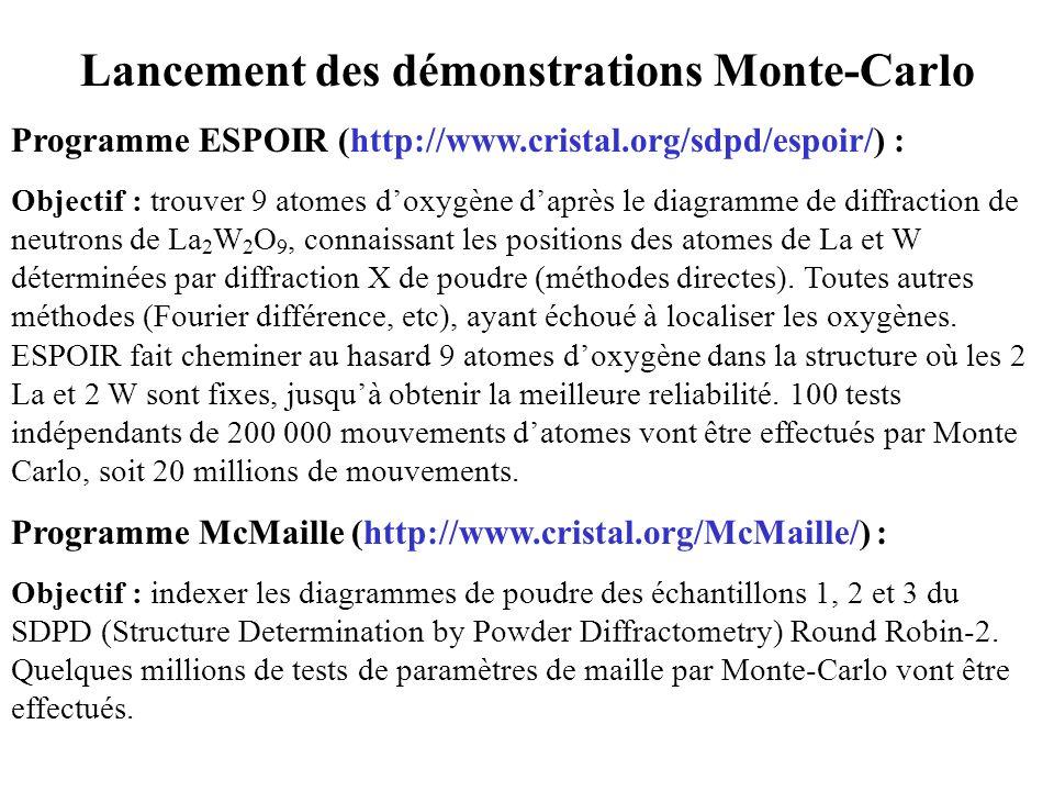 Lancement des démonstrations Monte-Carlo Programme ESPOIR (http://www.cristal.org/sdpd/espoir/) : Objectif : trouver 9 atomes doxygène daprès le diagr