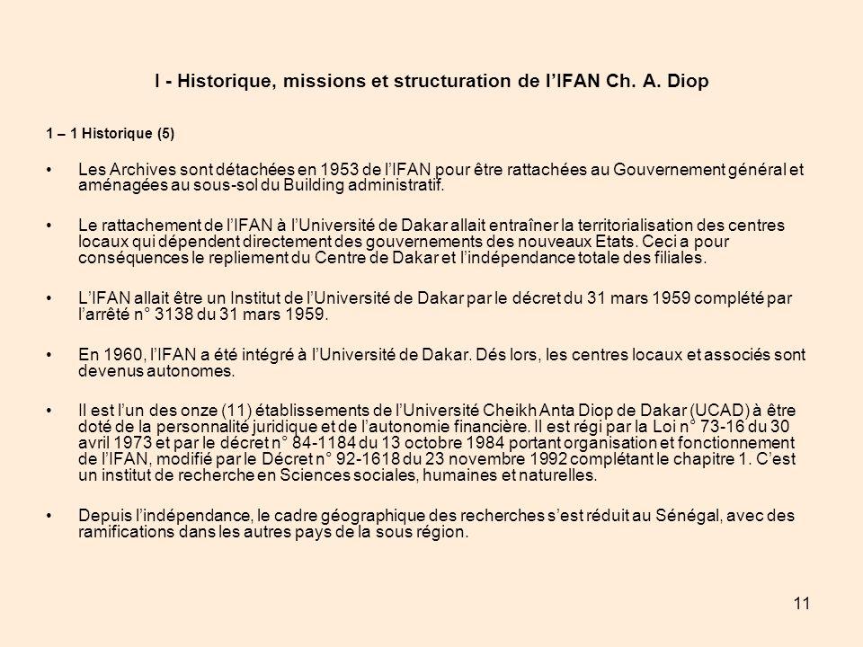 11 I - Historique, missions et structuration de lIFAN Ch. A. Diop 1 – 1 Historique (5) Les Archives sont détachées en 1953 de lIFAN pour être rattaché