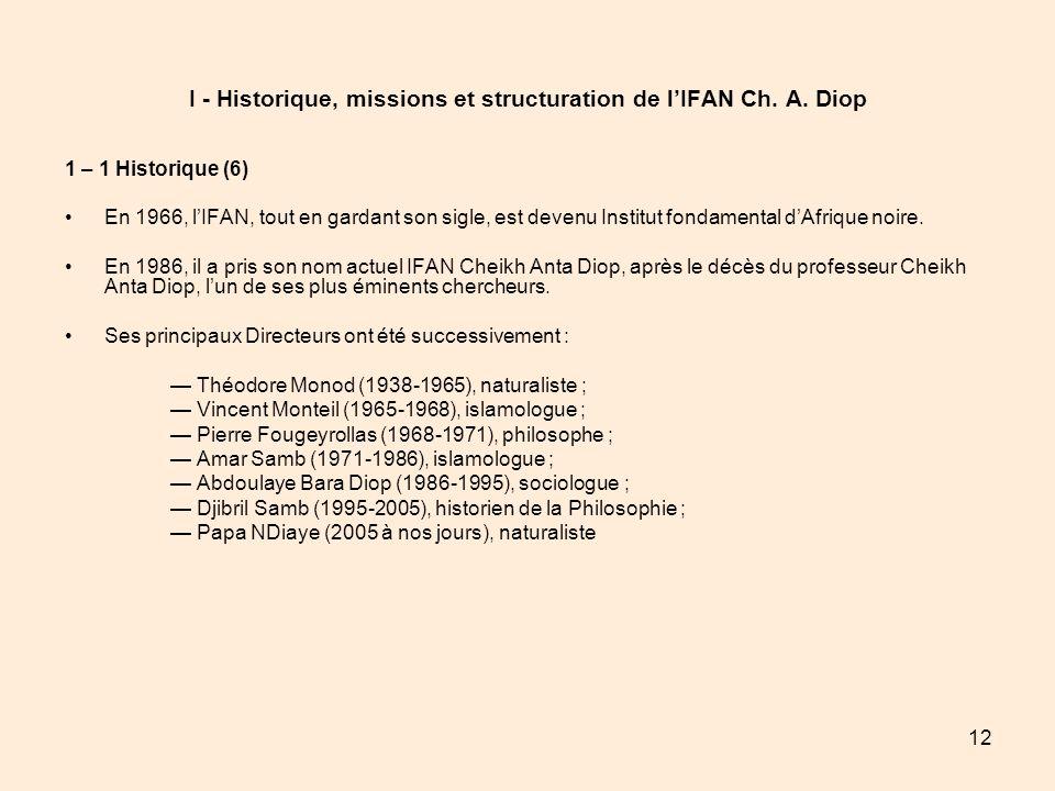 12 I - Historique, missions et structuration de lIFAN Ch. A. Diop 1 – 1 Historique (6) En 1966, lIFAN, tout en gardant son sigle, est devenu Institut