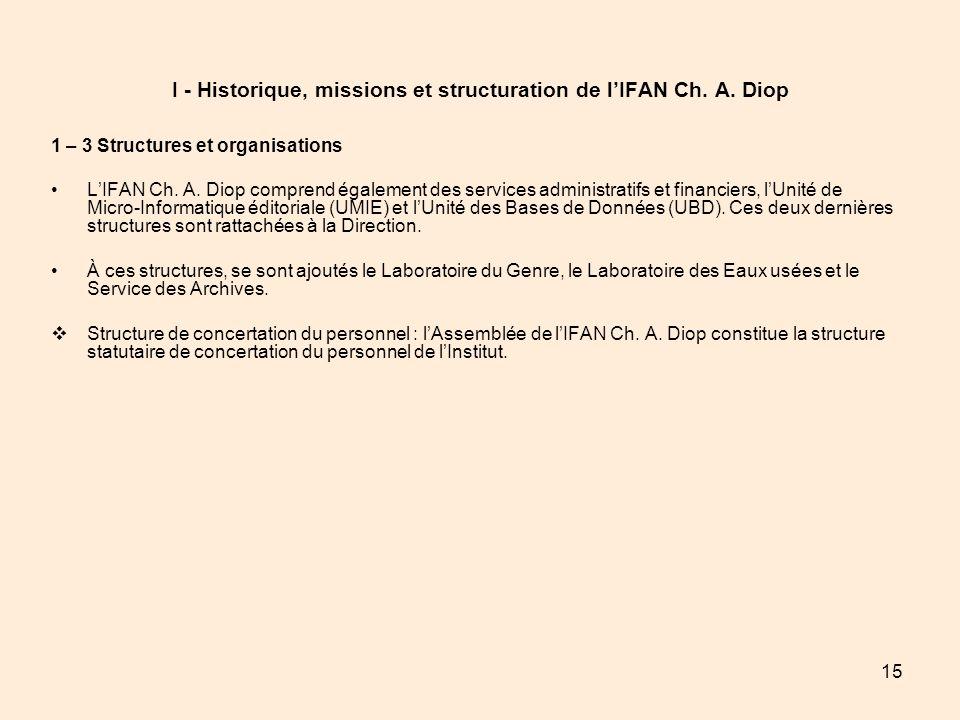 15 I - Historique, missions et structuration de lIFAN Ch. A. Diop 1 – 3 Structures et organisations LIFAN Ch. A. Diop comprend également des services