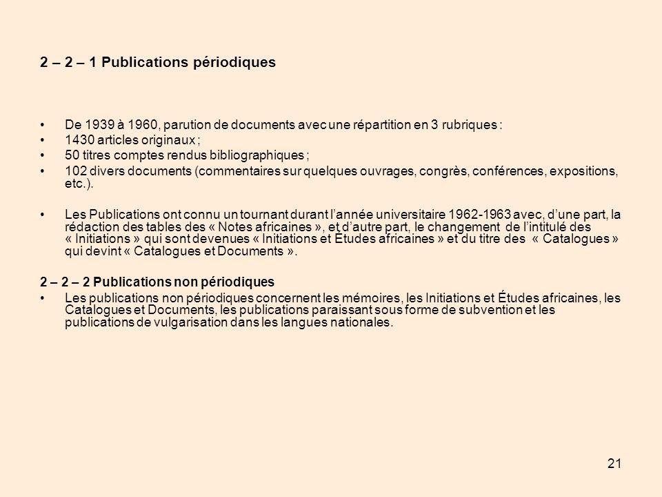 21 2 – 2 – 1 Publications périodiques De 1939 à 1960, parution de documents avec une répartition en 3 rubriques : 1430 articles originaux ; 50 titres