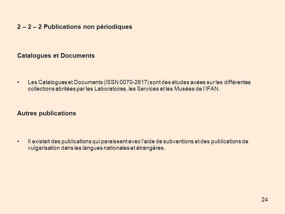 24 2 – 2 – 2 Publications non périodiques Catalogues et Documents Les Catalogues et Documents (ISSN 0070-2617) sont des études axées sur les différent