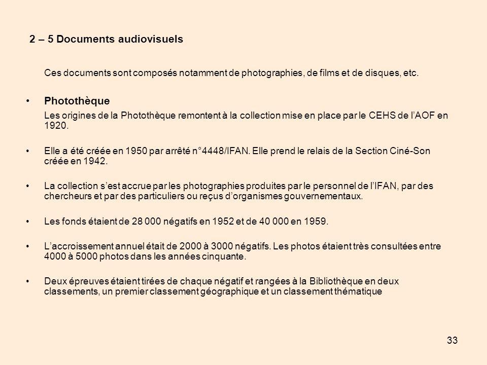 33 2 – 5 Documents audiovisuels Ces documents sont composés notamment de photographies, de films et de disques, etc. Photothèque Les origines de la Ph