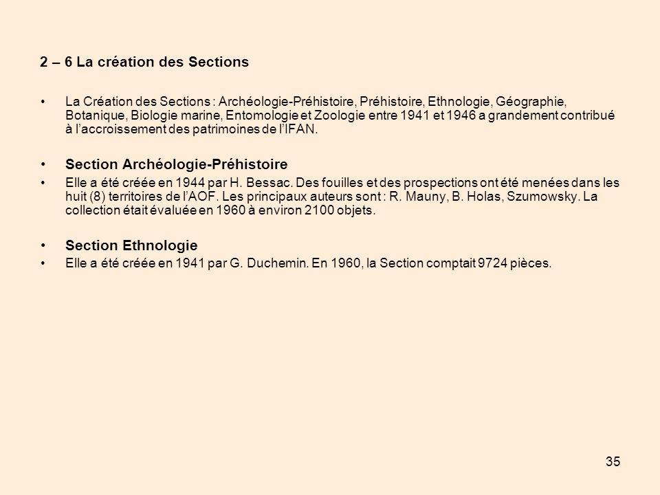 35 2 – 6 La création des Sections La Création des Sections : Archéologie-Préhistoire, Préhistoire, Ethnologie, Géographie, Botanique, Biologie marine,